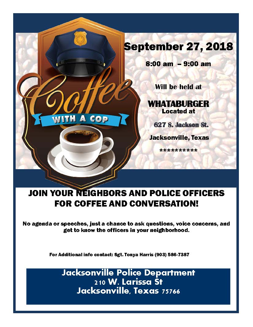 Coffee with a cop Flyer whataburger 09112018